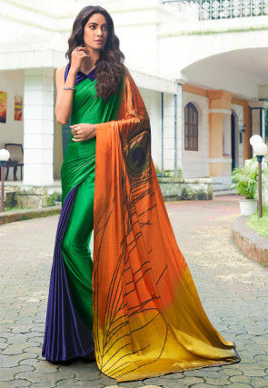 Digital Printed Crepe Saree in Multicolor