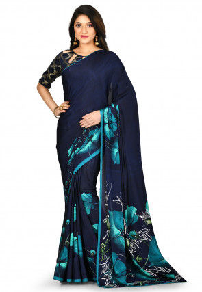 Digital Printed Crepe Saree in Navy Blue