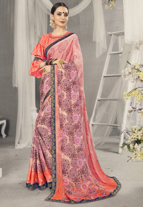 Digital Printed Crepe Saree in Peach