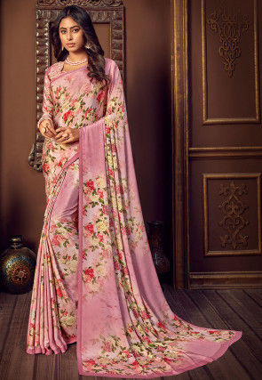 Digital Printed Crepe Saree in Pink