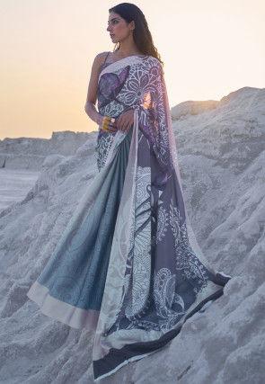 Digital Printed Crepe Saree in Shaded Grey and Blue