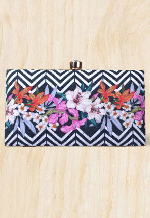 Digital Printed Crepe Square Box Clutch in Black and White