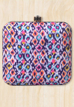 Digital Printed Crepe Square Box Clutch in Multicolor