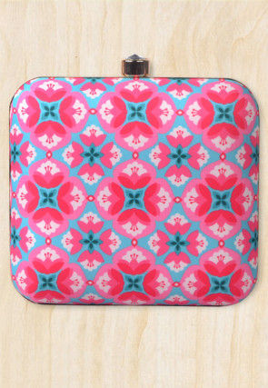 Digital Printed Crepe Square Box Clutch in Pink and Blue