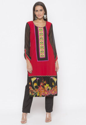 Digital Printed Crepe Straight Kurta in Red