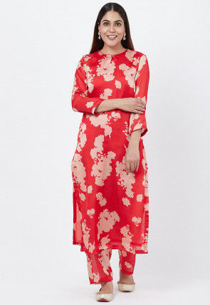 Digital Printed Crepe Straight Kurta Set in Red