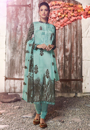 Digital Printed Crepe Straight Suit in Light Turquoise