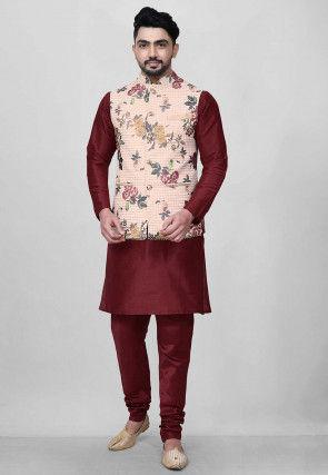 Digital Printed Dupion Kurta Jacket Set in Maroon and Peach