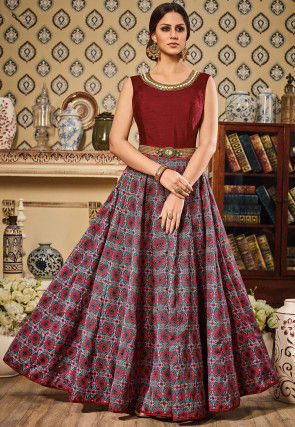 Digital Printed Dupion Silk Abaya Style Suit in Multicolor