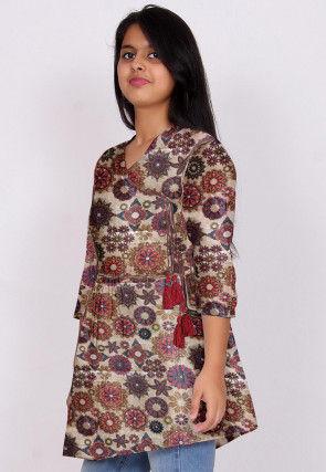 Digital Printed Dupion Silk Angrakha Style Tunic in Beige