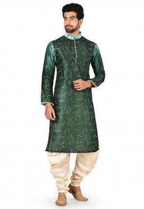 Digital Printed Dupion Silk Dhoti Kurta in Dark Green
