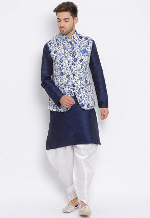 Digital Printed Dupion Silk Dhoti Kurta in Navy Blue