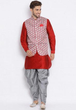 Digital Printed Dupion Silk Dhoti Kurta in Red