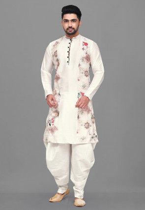 Digital Printed Dupion Silk Dhoti Kurta in White