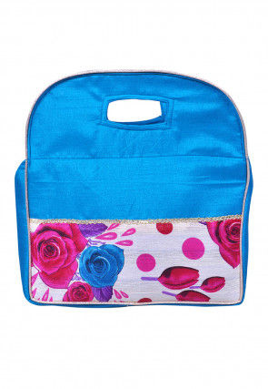 Digital Printed Dupion Silk Hand Bag in Turquoise