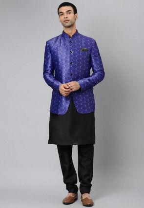 Digital Printed Dupion Silk Kurta Jacket Set in Blue and Black