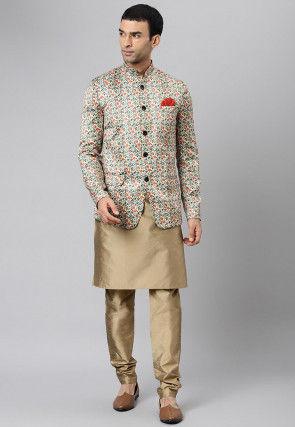 Digital Printed Dupion Silk Kurta Jacket Set in Multicolor and Fawn