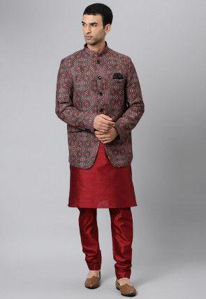 Digital Printed Dupion Silk Kurta Jacket Set in Multicolor and Red
