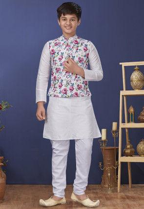 Digital Printed Dupion Silk Kurta Jacket Set in Off White