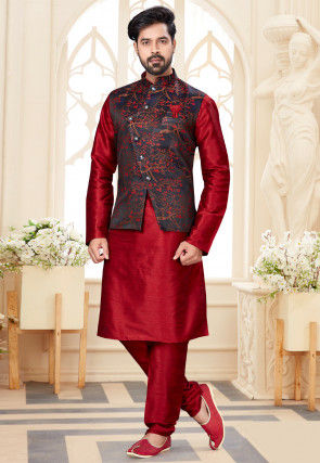 Digital Printed Dupion Silk Kurta Jacket Set in Red and Black