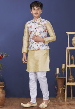 Digital Printed Dupion Silk Kurta Set in Beige and White