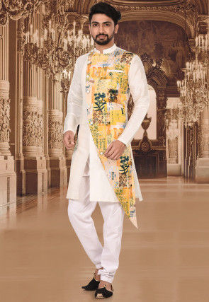 Digital Printed Dupion Silk Kurta Set in Off White and Yellow