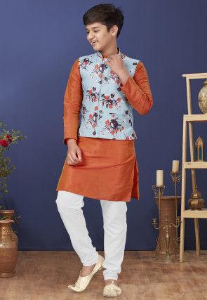 Digital Printed Dupion Silk Kurta Set in Orange and Sky Blue
