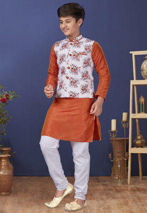 Digital Printed Dupion Silk Kurta Set in Orange and White