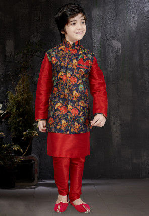 Digital Printed Dupion Silk Kurta Set in Red
