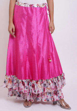 Digital Printed Dupion Silk Layered Ruffled Skirt in Fuchsia