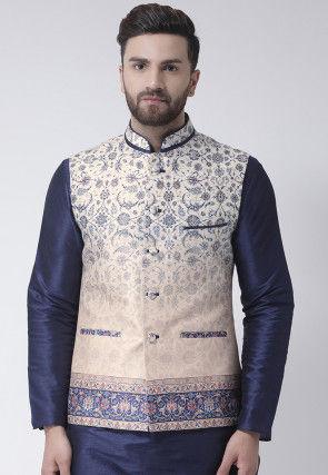 Digital Printed Dupion Silk Nehru Jacket in Cream