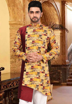 Digital Printed Dupion Silk Sherwani in Mustard and Maroon
