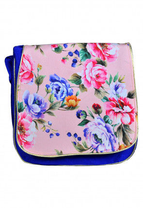 Digital Printed Dupion Silk Sling Bag in Pink and Royal Blue