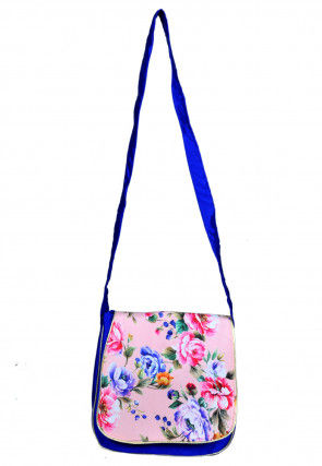Digital Printed Dupion Silk Sling Bag in Royal and Pink