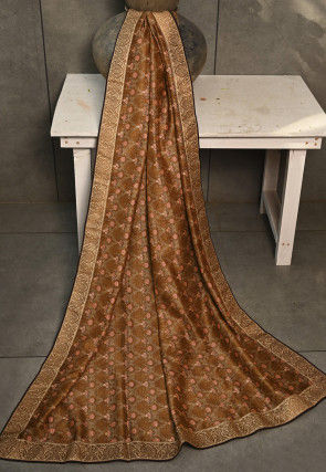 Digital Printed Gadwal Silk Dupatta in Brown