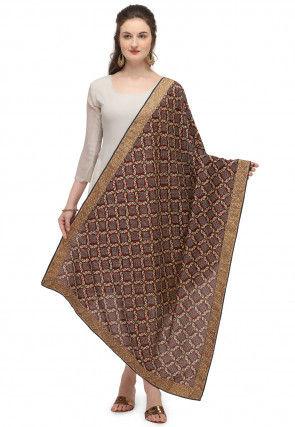 Digital Printed Gadwal Silk Dupatta in Maroon