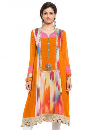 Digital Printed Georgette Anarkali Kurta in Orange