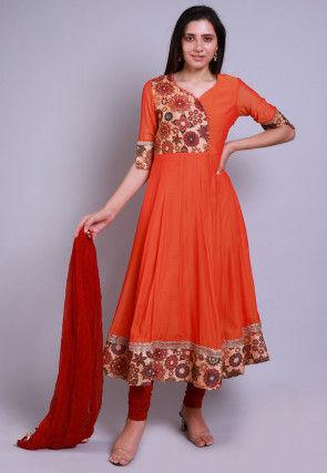 Digital Printed Georgette Anarkali Suit in Orange
