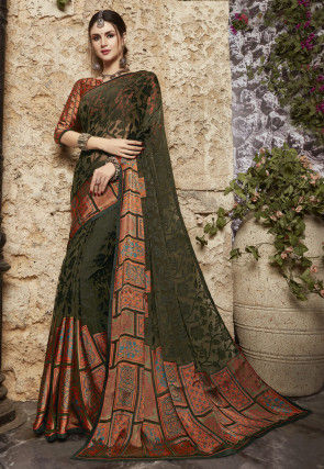 Digital Printed Georgette Brasso Saree in Olive Green