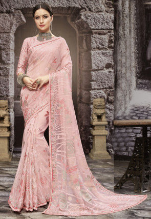 Digital Printed Georgette Brasso Saree in Pink