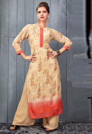 Digital Printed Georgette Kurta with Palazzo in Light Beige