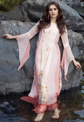 Digital Printed Georgette Maxi Dress in Off White and Pink