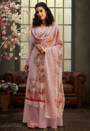 Digital Printed Georgette Pakistani Suit in Baby Pink
