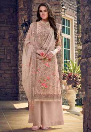 Digital Printed Georgette Pakistani Suit in Beige