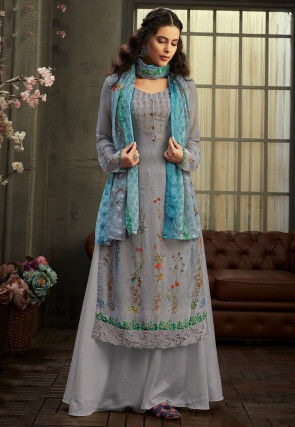 Digital Printed Georgette Pakistani Suit in Dusty Blue