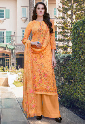 Digital Printed Georgette Pakistani Suit in Orange