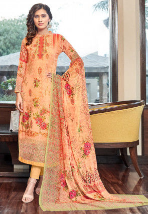 Digital Printed Georgette Pakistani Suit in Peach