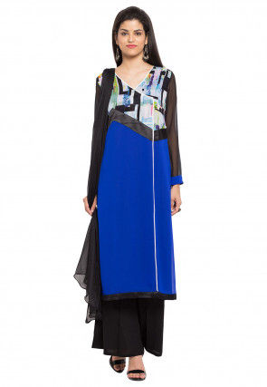 Digital Printed Georgette Pakistani Suit in Royal Blue
