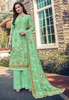 Digital Printed Georgette Pakistani Suit in Sea Green