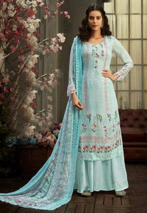 Digital Printed Georgette Pakistani Suit in Sky Blue
